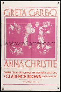 6j049 ANNA CHRISTIE 1sh R1962 Greta Garbo, Charles Bickford, Clarence Brown directed!
