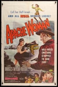 6j053 APACHE WOMAN 1sh 1955 art of naked cowgirl in water pointing gun at Lloyd Bridges!