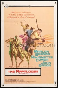 6j056 APPALOOSA 1sh 1966 Marlon Brando rode the lustful & lawless to live on the edge of violence!