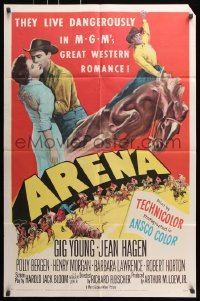 6j058 ARENA 2D 1sh 1953 Gig Young, Jean Hagen, Polly Bergen, cool art from first 3-D western!