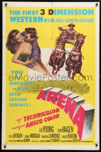 6j059 ARENA 3D 1sh 1953 Gig Young, Jean Hagen, Polly Bergen, cool art from first 3-D western!