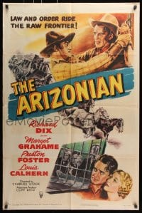6j060 ARIZONIAN 1sh R1951 Charles Vidor, Richard Dix, law and order on the raw frontier!