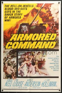 6j061 ARMORED COMMAND 1sh 1961 Burt Reynolds' first movie, great art of tank on battlefield!