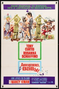 6j062 ARRIVEDERCI, BABY 1sh 1966 Tony Curtis is a ladykiller, great wacky Jack Davis art!