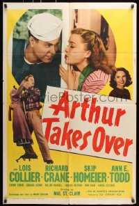 6j063 ARTHUR TAKES OVER 1sh 1948 Lois Collier & Richard Crane have to hide their marriage!