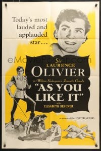 6j064 AS YOU LIKE IT 1sh R1949 Sir Laurence Olivier in William Shakespeare's romantic comedy!