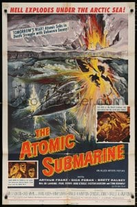 6j067 ATOMIC SUBMARINE 1sh 1959 cool Reynold Brown art, hell explodes under the Arctic Sea!