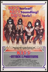 6j069 ATTACK OF THE PHANTOMS 1sh 1978 cool portrait of KISS, Criss, Frehley, Simmons, Stanley
