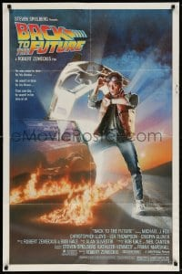 6j073 BACK TO THE FUTURE studio style 1sh 1985 art of Michael J. Fox & Delorean by Drew Struzan!