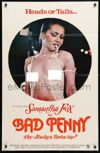 6j077 BAD PENNY 24x36 1sh 1978 heads or tails, Samantha Fox is always a winner, x-rated, cool image!