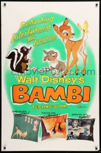 6j078 BAMBI 1sh R1957 Walt Disney cartoon deer classic, great art with Thumper & Flower!
