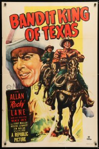 6j079 BANDIT KING OF TEXAS 1sh 1949 art of cowboy Allan Rocky Lane riding his horse Black Jack!