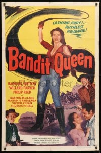 6j080 BANDIT QUEEN 1sh 1950 sexy Barbara Britton with whip, lashing fury, ruthless revenge!