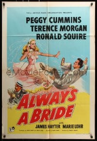 6j034 ALWAYS A BRIDE English 1sh 1953 wacky art of sexy Peggy Cummins & Terence Morgan!