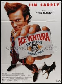 6k525 ACE VENTURA PET DETECTIVE French 1p 1994 Jim Carrey tries to find Miami Dolphins mascot!