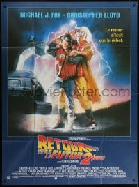 6k546 BACK TO THE FUTURE II French 1p 1989 art of Michael J. Fox & Christopher Lloyd by Struzan!