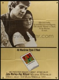 6k785 LOVE STORY French 1p 1971 great romantic close up of Ali MacGraw & Ryan O'Neal!