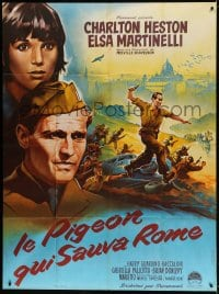 6k847 PIGEON THAT TOOK ROME French 1p 1962 art of Charlton Heston & Elsa Martinelli by Roger Soubie!