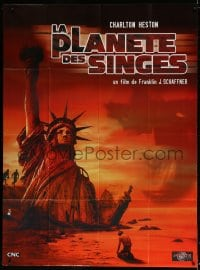 6k851 PLANET OF THE APES French 1p R1990s different art of Charlton Heston & Statue of Liberty!