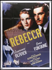 6k878 REBECCA French 1p R2000s Alfred Hitchcock, great image of Laurence Olivier & Joan Fontaine!