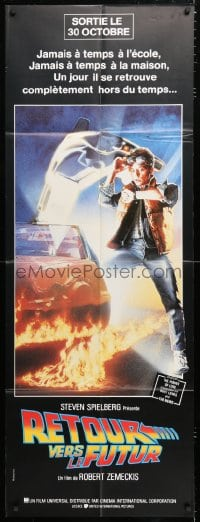 6k491 BACK TO THE FUTURE French door panel 1985 art of Michael J. Fox & Delorean by Drew Struzan!