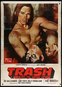 6k282 ANDY WARHOL'S TRASH Italian 1p 1972 different art of barechested Joe Dallessandro by Symeoni!