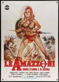 6k286 BATTLE OF THE AMAZONS Italian 1p 1973 art of sexy barely-dressed warrior Lucretia Love!