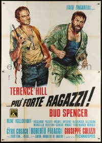 6k151 ALL THE WAY BOYS Italian 2p 1973 Casaro art of Terence Hill holding gun & Bud Spencer!