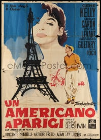6k152 AMERICAN IN PARIS Italian 2p R1963 Nano art of Leslie Caron & Kelly by Eiffel Tower, rare!