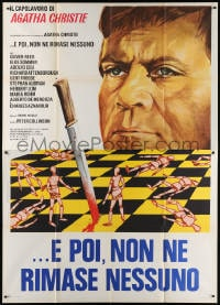 6k153 AND THEN THERE WERE NONE Italian 2p 1974 Spagnoli art of Oliver Reed over chessboard war!