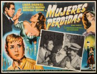 6k039 ANGELS OF DARKNESS Mexican LC 1960 Linda Darnell, Anthony Quinn, Giulietta Masina, cool art!