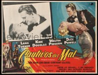 6k042 BAD & THE BEAUTIFUL Mexican LC 1953 best romantic cloes up of Lana Turner & Kirk Douglas!