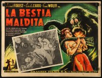 6k045 BEAST FROM HAUNTED CAVE Mexican LC 1959 Roger Corman, border art of monster with victim!