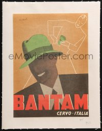 6k136 BANTAM linen 9x13 Italian advertising poster 1950s cool hat ad with art by Gino Boccasile!