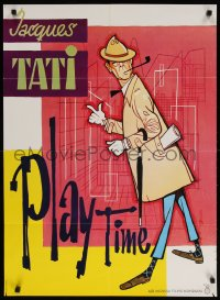 6p018 PLAYTIME Danish 1969 great completely different artwork of Jacques Tati as Monsieur Hulot!