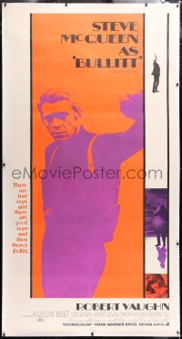 6s014 BULLITT linen int'l 3sh 1968 full-length Steve McQueen in his car chase classic, ultra rare!