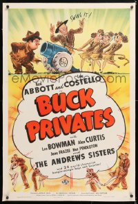 6s069 BUCK PRIVATES linen 1sh 1940 art of Abbott & Costello with The Andrews Sisters, ultra rare!