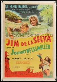 6t366 JUNGLE JIM linen Argentinean 1950 art of Weissmuller & Virginia Grey in river with crocodile!
