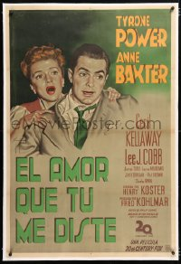 6t371 LUCK OF THE IRISH linen Argentinean 1949 Gargiulo art of Tyrone Power & Anne Baxter, rare!