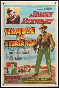 6t372 MAN FROM LARAMIE linen Argentinean 1956 art of cowboy James Stewart, directed by Anthony Mann!