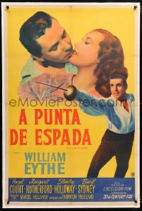 6t373 MEET ME AT DAWN linen Argentinean 1947 swordsman William Eythe about to kiss Hazel Court!