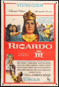 6t377 RICHARD III linen Argentinean 1957 Laurence Olivier in the title role, Shakespeare, very rare!