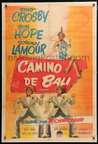6t378 ROAD TO BALI linen Argentinean 1952 art of Bing Crosby, Bob Hope & sexy Dorothy Lamour!