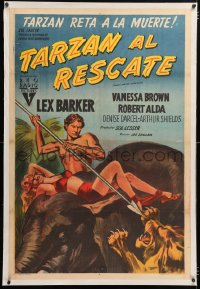 6t382 TARZAN & THE SLAVE GIRL linen Argentinean 1953 different art of Lex Barker on elephant, rare!