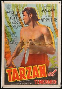 6t383 TARZAN'S DESERT MYSTERY linen Argentinean R1950s c/u art of Johnny Weissmuller with knife!