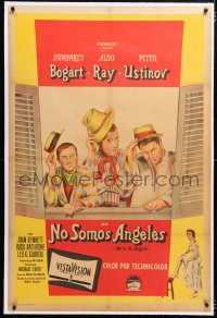 6t387 WE'RE NO ANGELS linen Argentinean 1955 art of cons Humphrey Bogart, Aldo Ray & Peter Ustinov!