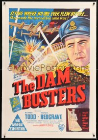 6t278 DAM BUSTERS linen Aust 1sh 1956 Richard Todd & Michael Redgrave, WWII bouncing bombs, rare!