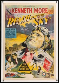 6t279 REACH FOR THE SKY linen Aust 1sh 1957 art of English RAF pilot Kenneth More, very rare!