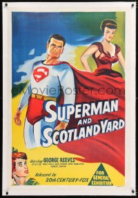 6t281 SUPERMAN IN SCOTLAND YARD linen Aust 1sh 1954 art of George Reeves & Noel Neill, ultra rare!
