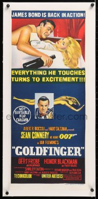 6t284 GOLDFINGER linen Aust daybill 1964 great art of Sean Connery as James Bond, back in action!